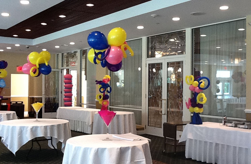 Martini Glass Amp Balloons Centerpiece Plan A Party Mare